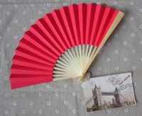 Wholesale Solid Color Hand Paper Fan Wedding Decoration Party Favor colors for choice