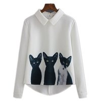 Wholesale 2016 Autumn Lapel Three Cats Zipper Sweet Women Blouses Pullovers Slim Cats Female White Long Sleeve Casual Tops Tees Blouses