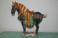 antique horse saddles - rare tang sancai Glazed Pottery blue long Bristle color saddle left war horse