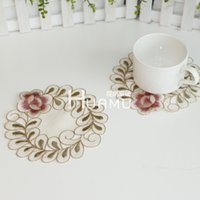 Wholesale Flowers placemat coaster bowl pad insulation pad pad oval rectangular vase pastoral cloth embroidery dd112