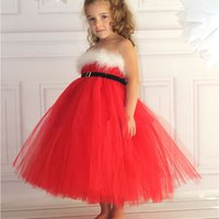 Wholesale 2014 new children christmas dress red color with white feather girls dresses kids new year X mas pageant dress baby girl Pettiskirt