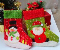 christmas fabric - 4pcs Christmas Stockings Lovely Fabric Cloth Santa Snowman Christmas Socks Christmas Deocrations For Party S3067