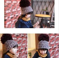 ball cap ear warmer - Children Wollen Caps Winter New Arrival Fashion Girls Casual Hats With Wollen Ball Keep Warm Kids Hats Fit Age T1469
