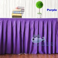 Wholesale Cheap Price Purple Color Polyester Table Skirt Pleated Ruffled Table Skirting