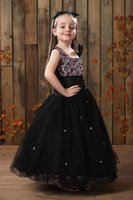 best fabric for dresses - Cute Black Princess Flower Pretty Girls Dresses With Square Neck Spaghetti Straps Crystal Best Fabric Floor Length Pageant Dress For Girls