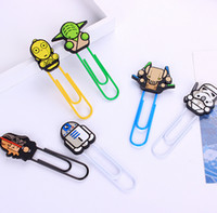 Wholesale 50pcs New Arrival Cartoon Star Wars Silicone Paper Clip Black Knight Darth Vader Yoda Bookmarks Decorative Filling Paper Clip