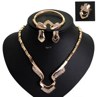 Wholesale Fashion Luxury Diamond Jewelry Sets New Champagne Gold Plated Necklace Bracelets For Women bride Wedding The big exaggeration chain