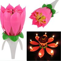 party happy - Birthday party Music Flower Candle New Lotus Music Candles Happy Birthday Music Flowers Birthday candles Flower candles DDD2380