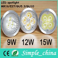 Wholesale 2015 Hot Sale Special Offer Gu5 Gu10 E27 Led Bulb w12w15w Light Gu10 mr16 e27 gu5 Spotlights Cree Lights x3w Energy saving