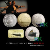 Wholesale Mix order k Gold silver plated Romantic and love Titanic coins metal craft wedding gift mm