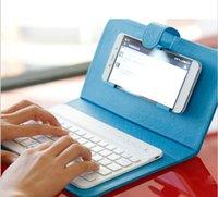 Caso de cuero del teclado ultrafino sin hilos de Bluetooth de la cubierta con el soporte para iPhone 6 6s 6 más Samsung teléfono celular teclado del caso del soporte