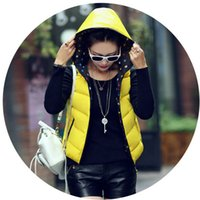 Cheap Wholesale-Women Autumn Winter Vest Waistcoat Jacket 2015 Ladies Sleeveless Jacket Coat Plus Size Polka Dot Hooded Cotton Vest Female BN482
