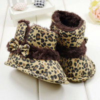 baby cribs free shipping - Toddler Crib Shoes Leopar Bow Snow Fur Boots Winter Warm Baby Girl Shoes Booties