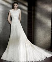 Wholesale lace and satin material wedding dress Cap Sleeves Sequined bow sash A line court train Wedding Gown Custom Made Ly