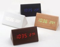 Wholesale New wood led horloge wood led clocks triangle Clock Acoustic Control vintage digital alarm clock with calendars gift packaging