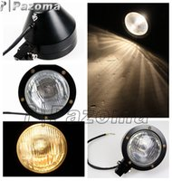 motorcycle headlamp - Motorcycle Headlamps Headlight V Lens Light Bulb billet quot Full Black TRI XS650 Bobbe Chopper Pazoma