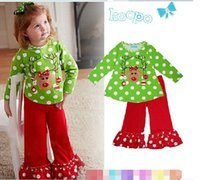 Wholesale can choose size Santa Suit Girl Christmas Suits Green Dot T shirt Falbala Ankle Pants Baby New Year Clothes Kids Sets Children s Outfits