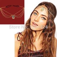 achat en gros de bijoux oeil-main indien-Gros-Fashion Angel Eyes Femmes Hand Made Hamsa Metal Head chaîne de bijoux Bandeau Pièce de tête de la bande indienne de cheveux Bijoux Style A00177