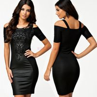 Wholesale Women Leather Bodycon Dress Embroidery Plus Size Women s Clothes Celebrity Party Wear Bandage Dresses Formal