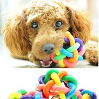 Wholesale Newest cm cm cm Colorful Bell Ball Pet Rainbow Colored Ball Ball Knitting Audible Ball Dog Toy Rubber Balls Dog Training