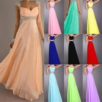 Reference Images empire line dress - 2015 Sexy Cheap Colorful A line Empire Chiffon Bridesmaid Dress Cap Sleeves Sweetheart Long Backless Coral Evening Gowns Prom Dresses EB239