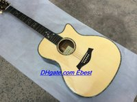 chinese acoustic guitars - natural Acoustic guitars Ebony fingerboard inlay flowers guitar abalone binding Body Chinese Acoustic guitar