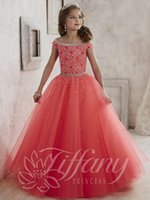 Wholesale Cheap Formal Gowns For Girls - 2016 New Litter Girls Pageant Dresses Tulle Off Shoulder Crystal Beades Long For teens Size 13 Party Children Formal Cheap Flower Girl Gowns
