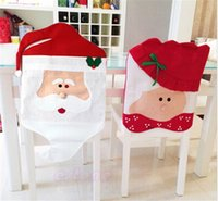 Wholesale 60PCS hot sale Santa claus kitchen table chair covers christmas Decoration Santa Red at chair covers D360