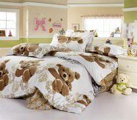 al por mayor camas cobardes-Ropa de cama del dormitorio de Brown del oso del bebé del algodón que para Full / Queen de sarga reversible Funky Kids Ropa de cama Fundas de edredón edredón Establece 4-5pc