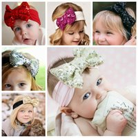 baby girl head bows - Girl Hair Accessories Sequined Big Bows Baby Headbands Twist knot Head Wrap Soft Cotton Hairband Infant Toddler Christmas Gift Hot Sale