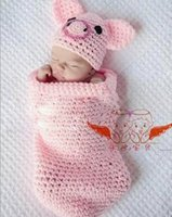 infant and toddler clothing - Cute Lovely Pink Pig Handmade baby Photography Props Infant Hat and sleeping bag Unisex Toddler Costumes Crochet Clothing