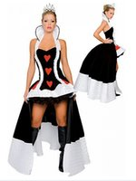 Wholesale Queen of Hearts costume fancy dress sexy deluxe queen of heart costume with crown and petticoat inside size s xl