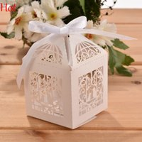 Wholesale 50pcs Love Heart Laser Cut White Bird Pattern Gift Candy Boxes Wedding Party Favor DIY Party Wedding Candy Boxes With Ribbon Holder SV023626