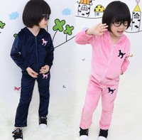 baby clothes fashion - girls tracksuits sport fashion clothing set hoody pants girls velvet tracksuit long sleeve hoodies baby jogging pants in stock