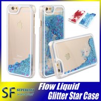 Wholesale For Galaxy S7 Iphone SE Case Iphone Clear Transparent case Floating glitter Star quicksand Dynamic Hard Case For G5308 With Opp Package