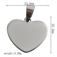 Wholesale Fashion Design Heart Charm Elegant Metal L Stainless Steel Silver Jewelry Clasp Blank Tag Heart Charms For Necklace Pendants