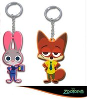 Wholesale 2016 Q version cm zootopia NICK pvc Keychain and Judy rabbit pendant accessories D581