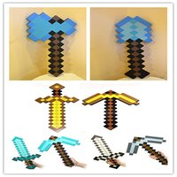 kids games and toys - Cheap Sword and Pickaxe EVA Foam Diamond Weapons Axe Foam Pick Gold Grey Blue Figure toy Game assessorties Birthday gifts toys for kids