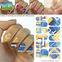 art combines - full Nail WRAPS Art Sticker Water Transfer False Nails Foil decals Manicure Decor Tools Cover design blue yellow combine