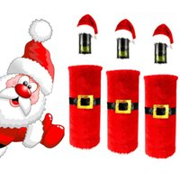 christmas crafts - Santa Suit Xmas Prop Wine Bottle Cover Ornament Christmas Decoration Craft Christmas Candy Bag Gift