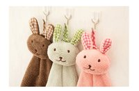 Wholesale quot Fun Dry quot cartoon cute lovely Rabbits hanging towel animals baby hand towel colors hanging bath towels for kids hiigh quality