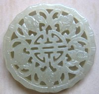 Wholesale Chinese Xinjiang old green jade hand carved five bat pendant bring luck