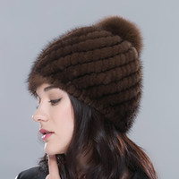 Wholesale Women s Real Mink Fur Hat wiith knit lining Winter Knitted Fur Beanies Hats with Fox Fur Pom Poms Female Skull Caps
