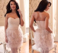 feather cocktail dress - 2015 Cocktail Party Dresses For Wedding Beading Sequins Pearls Feather Sweetheart Sheath Short Formal Gowns Prom Dresses New Arrival MQ