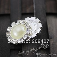 Wholesale 20MM Alloy Metal glitter pearl Button rhinestones wedding jewelry accessories hair accessory Bling Button flat back