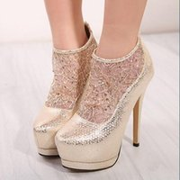 Cheap 100% Charming!!! 2015 New European Btanding Blasting with Sparkling Bead Piece Princess Lace Cut-Outs high-heeled Shoes for Nightclub, Party