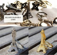 Wholesale 300pcs HOT sale colors key ring keychain Alloy Retro Eiffel Tower keychain france souvenir paris for children gift D467