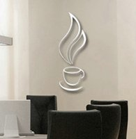 bell cup - 1PC Silver D Coffee Tea Cup Bell Wallsticker Cool DIY Wall Stickers Wallpaper Favored For Home Kitchen Decor