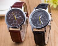 wrist watch - Unisex Geneva Leather PU Quartz Watches Men Women Luxury Brand Numerals Men s Watch Casual dress wrist watches