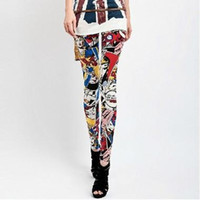 Wholesale Brand New Fashion Leggings For Women Personality Colorful Cartoon Character Polyester Pencil Pants Soft Skinny Ninth Pants SL017